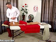 Big masseur was so polite with fragile Arab client that soon his dick visited that oiled pussy 6