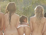 Naked girls oiled each other's slim body and gently stimulated twats before swimming in pool 5