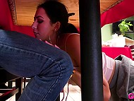 Lustful Melissa Moore went to fast food restaurant and got fucked by dude on table 4