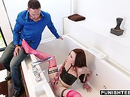 Male suddenly came home and caught tattooed stepdaughter masturbating in bathroom 5
