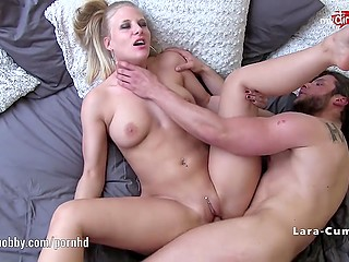 Flawless German Lara Cumkitten with pierced navel wasn't averse to swallow sperm in exchange for rough fuck