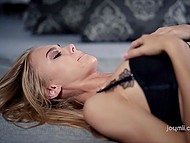 Fervent sex with high-class blonde and her gentle lover in comfortable bedroom 6