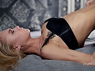 Fervent sex with high-class blonde and her gentle lover in comfortable bedroom 7