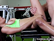 Black beauty happily switched from workout to great sex with muscled coach in gym 6