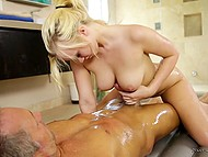 Blonde hottie gives stepbrother oil massage and gets intimate with him to keep his mouth shut 7