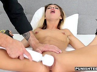 Skinny babe and boyfriend play game in which he rubs pussy with vibrator and fucks her hard