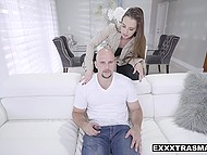 Girl transforms bald guy into sex toy using freeze time application and hooks him up 4
