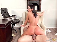 Student August Ames with big titties was fucked and facialized by Dean to get into college 10