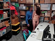 Policeman was in good mood so he let brunette shoplifter go away after anal fucking 6