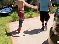 Three crazy young whores get picked up hitchhiking and move to guys' apartment for group fucking 6