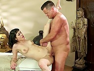 Fragile Asian with trimmed pussy gave visitor additional service in massage parlor