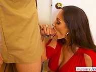 Big-boobied MILF Ava Addams has been without dildo for a very long time so plumber's cock is all she wants 4