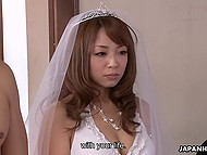 Japanese bride in veil and lingerie had kissed groom before gave him blowjob in front of witnesses 4