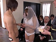Japanese bride in veil and lingerie had kissed groom before gave him blowjob in front of witnesses 5