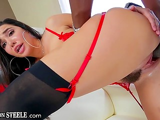 Dazzling brunette in red lingerie takes great black penis inside trimmed vagina