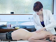 Scientists created formula for massage oil and Bree Daniels with short red hair tests it on Stella Cox 4