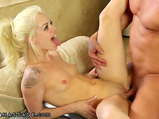 Hairless client will remember skinny blonde Elsa Jean for oil massage and good fucking