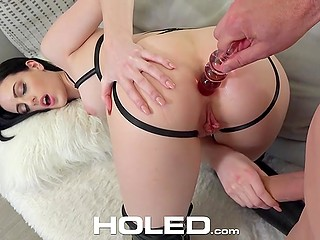 Macho helped attractive brunette Alex Harper become excited and thrust thick cock into tight asshole