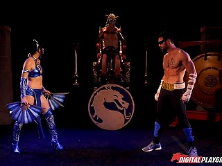 Cool fighter Johnny Cage fights against Kitana's pussy with robust cock in Mortal Combat