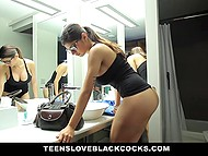 Full-bosomed chick went to bathroom to make herself prettier then tasted big black dick 5