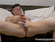Short-haired lady put vibrator on vagina and began to receive heavenly delight on comfortable couch 8