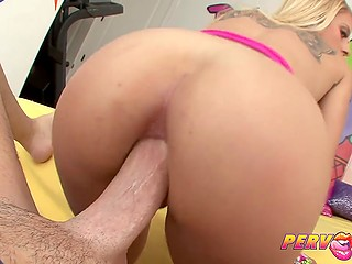 Smiling colleen with golden hair rides excited dick during awesome anal in front of camera