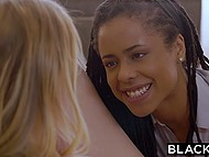 Needy gal Chloe Scott has sex with black millionaire but first his assistant fingers her pussy 4