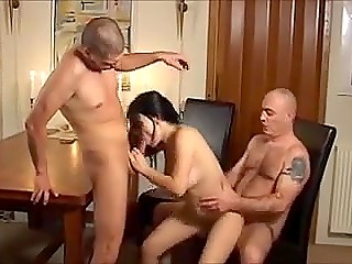Chesty Danish slut thoughtlessly plays cars with two tricky men and pays with pussy for loss