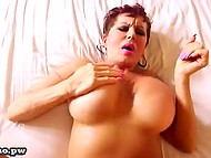 Old porn actress with massive breasts still has enough forces to do it with younger cavalier 11