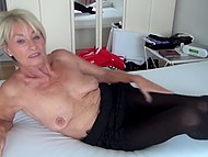 Old woman from Germany puts hand in panties to make her pussy wet after many years of resting