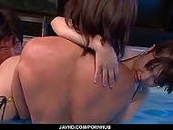 Petite babe from Japan takes lessons of group fucking from two swimming coaches 7