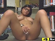 Arab bookworm Mia Khalifa exposes giant boobs and tickles shaved pussy in library