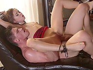 Playful babe Riley Reid gives some sex devices to birthday boy to let him take her present 7