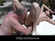 Old man got his shorts lifted down halfway by naughty Croatian Tina Blade but caught and punished her