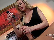 Imperious headmistress Brandi Love says to employee that he will be awarded and presents him handjob 5