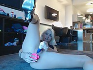 Drop-dead gorgeous blonde with slender legs gags her tight holes with dildos on webcam 9