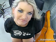 Buxom Vicky Vette from Norway shows off her musical instrument to cameraman before titfuck 8