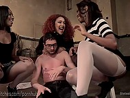 Ebony dominatrixes caught four-eyed bookworm and fucked his asshole with strapons in dungeon 6