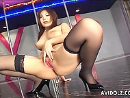 Chesty stripper from Japanese wastes no time toying her hairy vagina while there are no clients 4