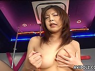 Chesty stripper from Japanese wastes no time toying her hairy vagina while there are no clients 6