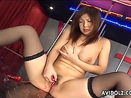 Chesty stripper from Japanese wastes no time toying her hairy vagina while there are no clients