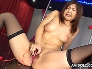Chesty stripper from Japanese wastes no time toying her hairy vagina while there are no clients 8