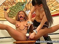 Japanese dominatrix ties up her girlfriend on high heels and toys helpless pussy with no mercy