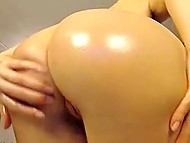Smiling Estonian blonde exposes her perfect body with curvy shapes in front of webcam 10