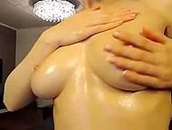 Smiling Estonian blonde exposes her perfect body with curvy shapes in front of webcam 9