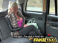 Finnish blonde with huge boobs is happy that she can get free ride in London taxi offering holes for fuck 4