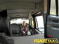 Finnish blonde with huge boobs is happy that she can get free ride in London taxi offering holes for fuck 5