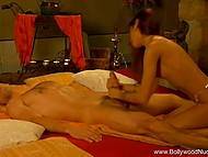 Young dude relaxes on soft bed and gets his long penis sucked by skinny Indian girlfriend 6