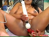 Chubby Arab masturbatrix with massive breasts masterfully deals with adult toys on webcam 10