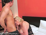 Old blonde woman now can boast to curious neighbors about sex with younger dude  4